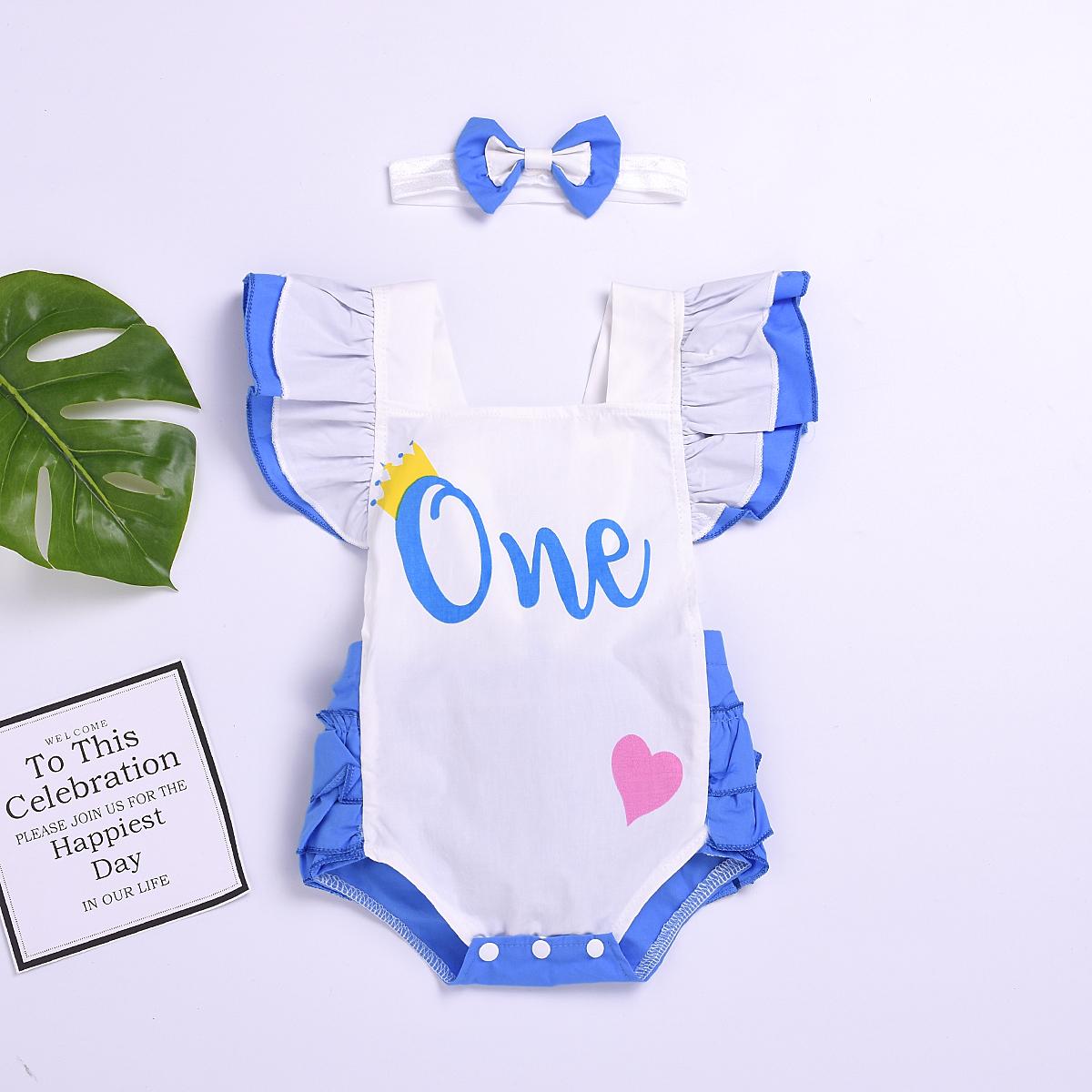 2 pièces Bébé les Filles On Adore l'imprimé à Volants, Body et le serre-tête Set