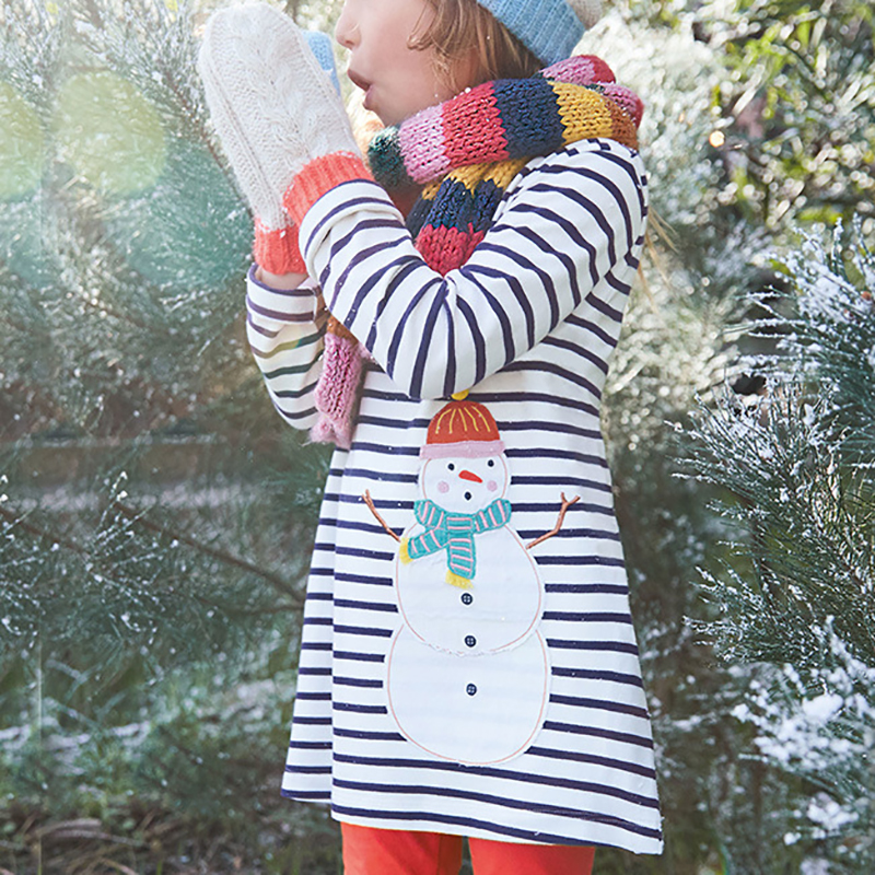 Snowman Print Striped Long-sleeve Dress