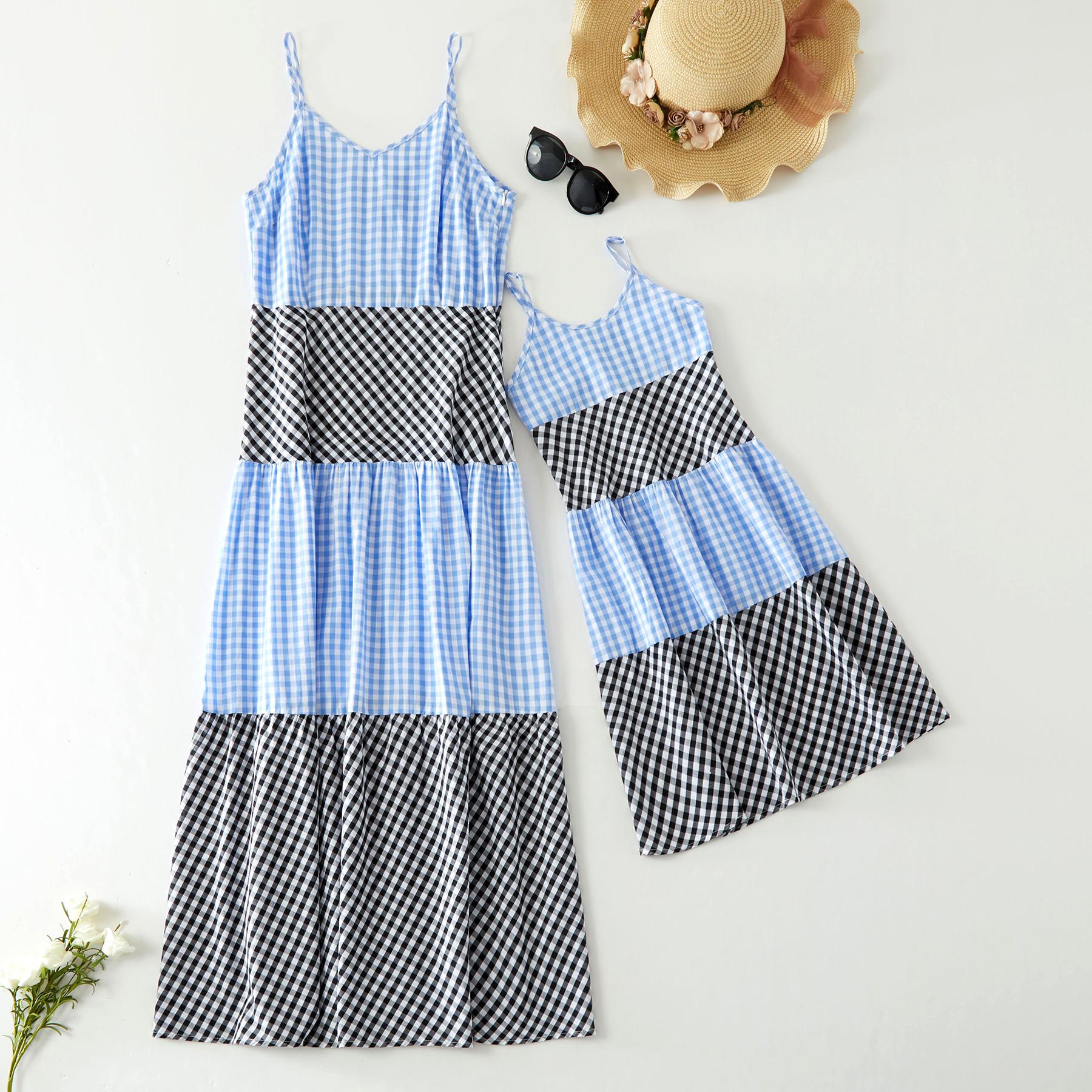 Mini Plaid Stitching Matching Dresses
