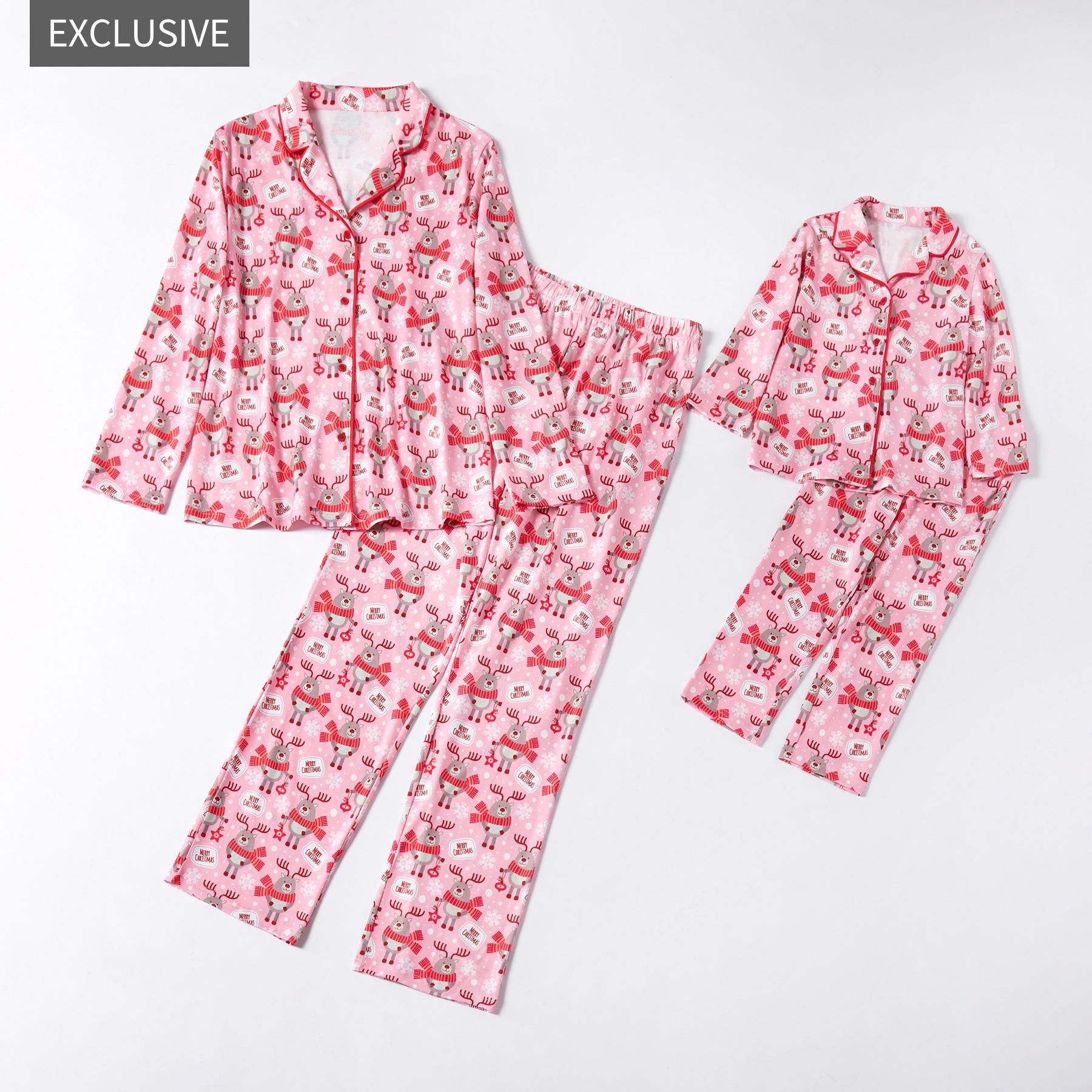 Mosaïque de la Famille Correspondant Maman et Moi, Joyeux Noël à Porter à la Boutonnière Pyjama pour Maman - Fille