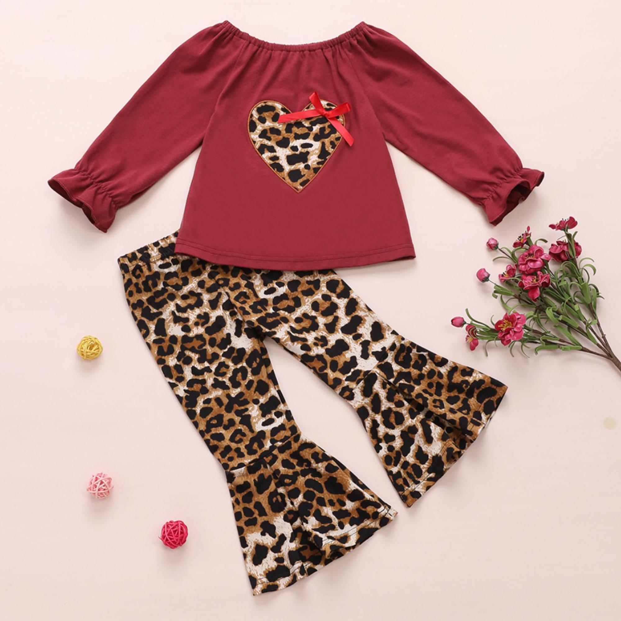 深圳市宝安区妍希宝贝制衣厂 / Top bebê com estampa de leopardo menina e calças BELLBOTTOM set