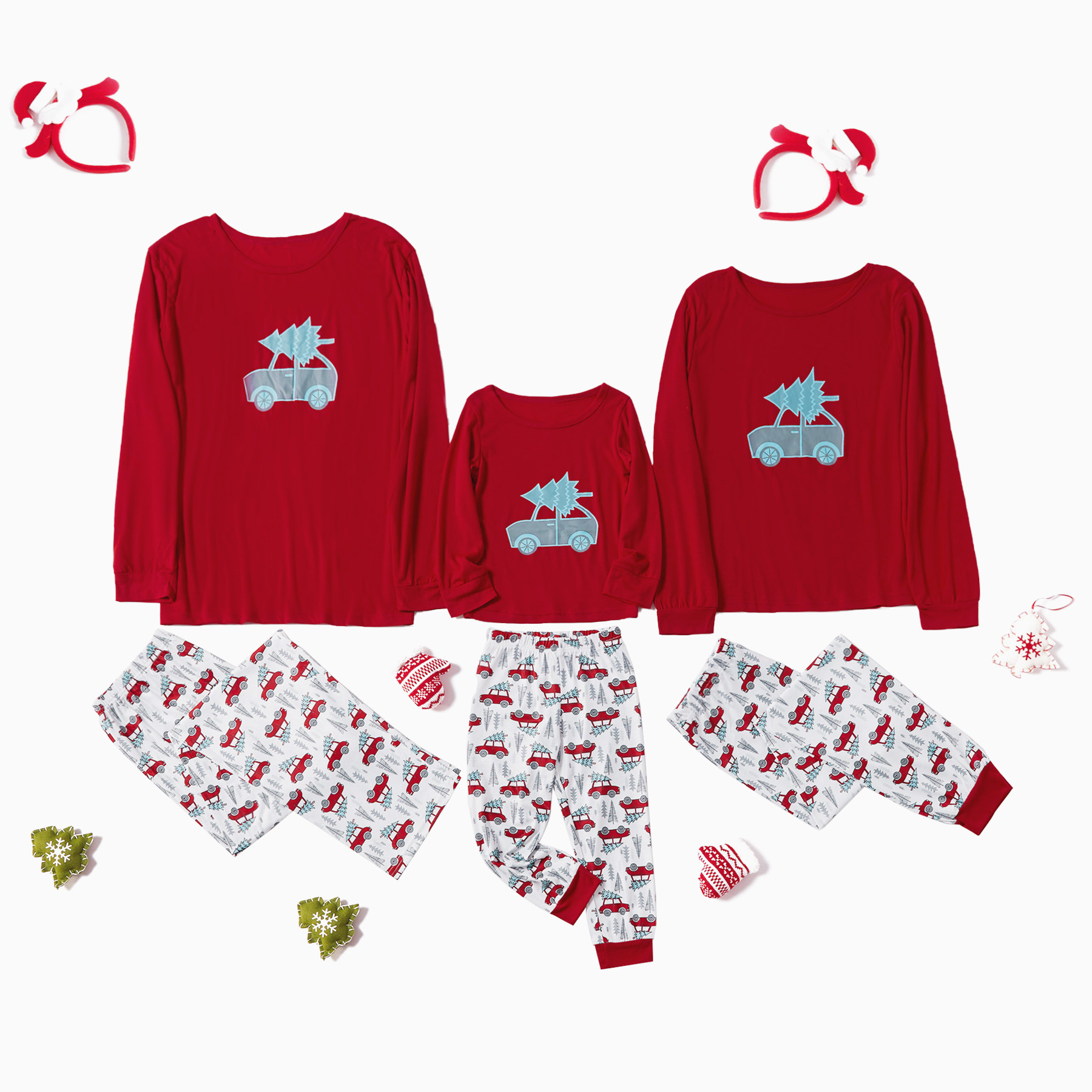 Christmas Tree and Cartoon Car Print Family Matching Pajamas Set
