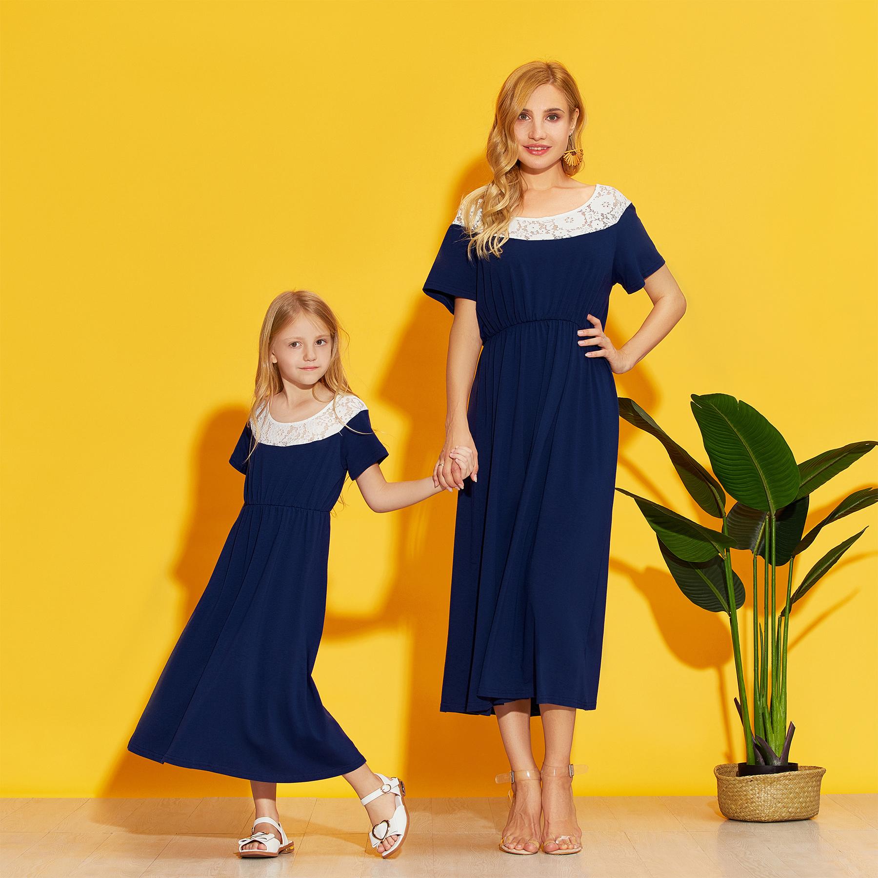 Solid Stitching Lace Matching Dresses