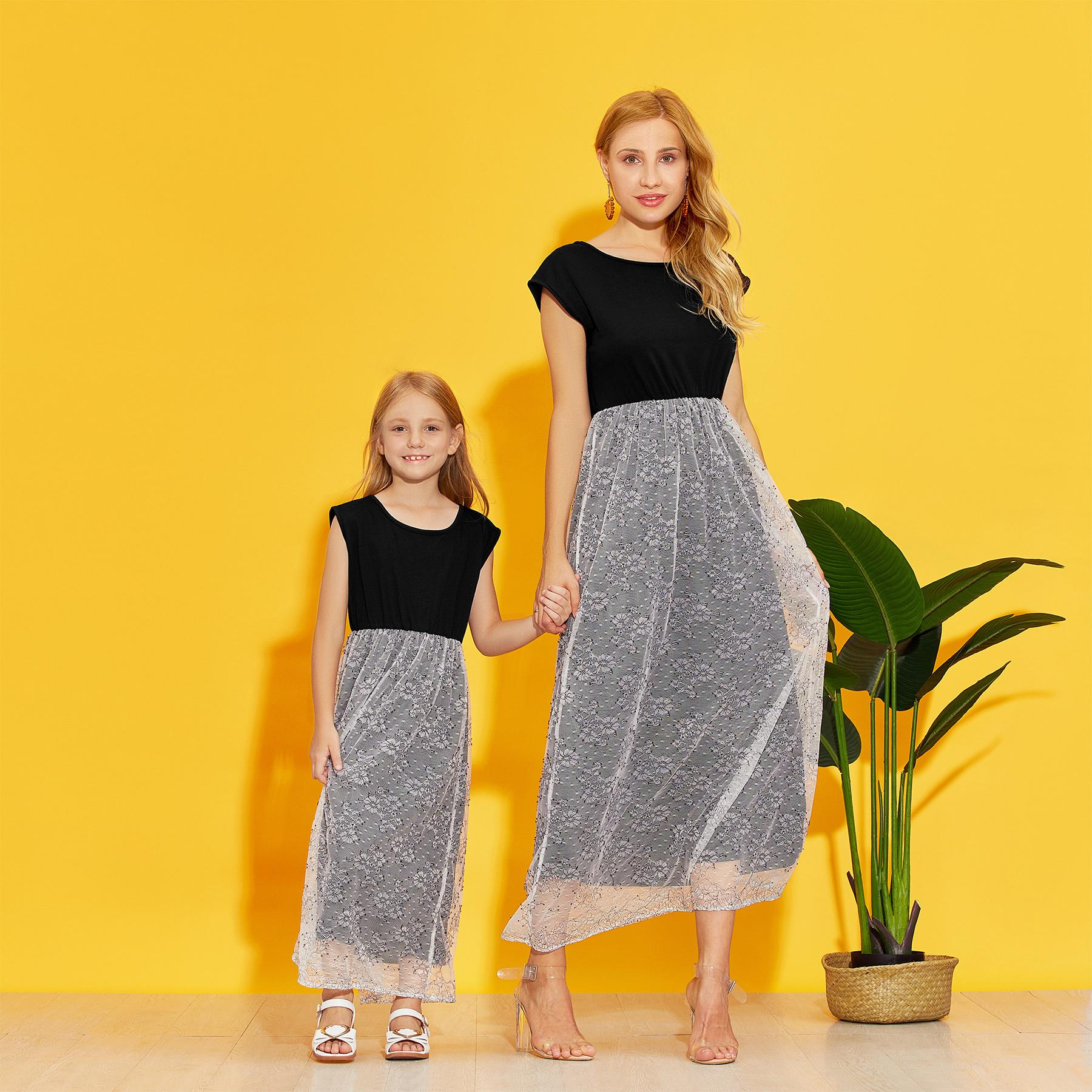 Stitching Lace Matching Dresses