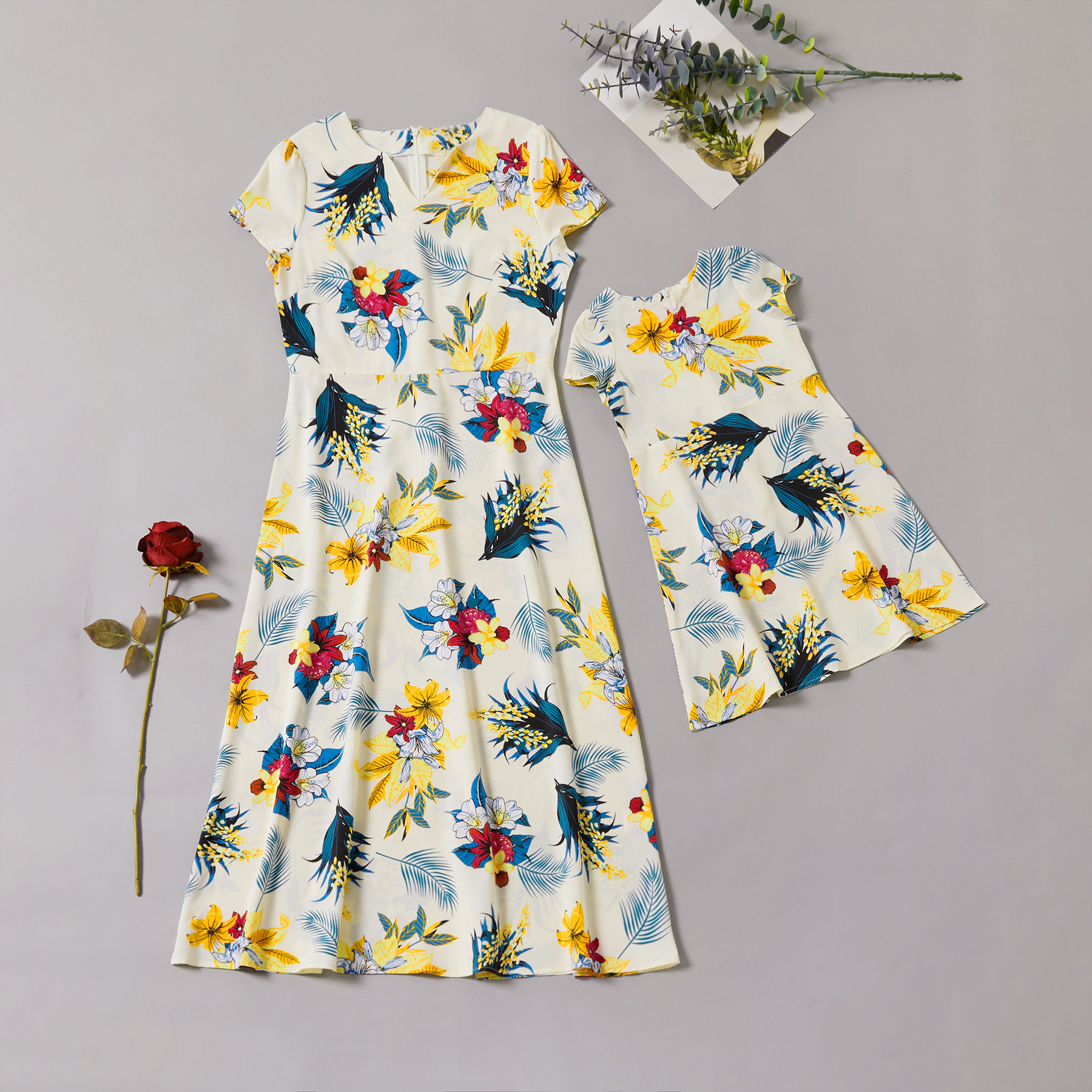 Printed Matching Dresses