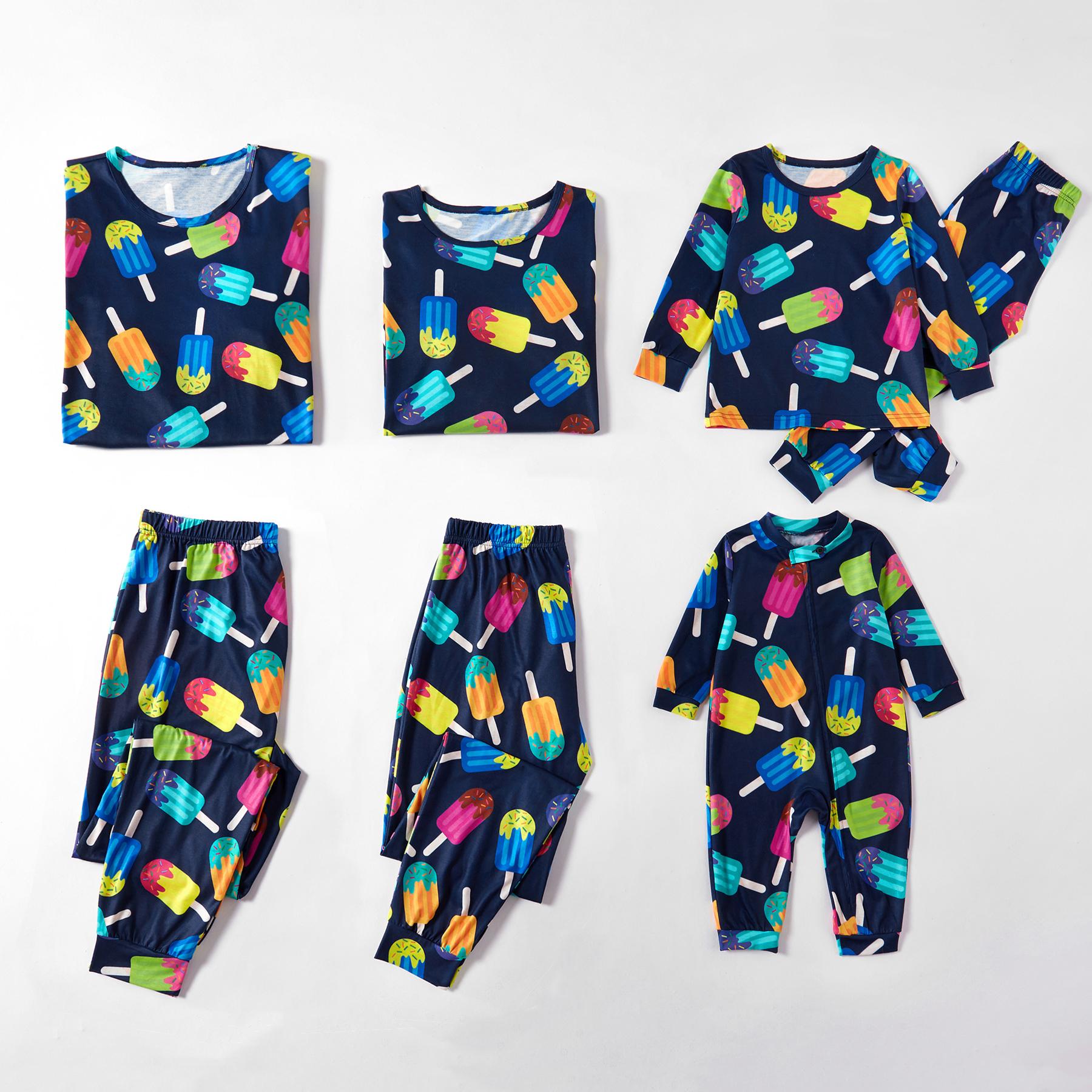 Coloré De La Glace À La Crème À Motifs De Famille Correspondant Pyjama Set