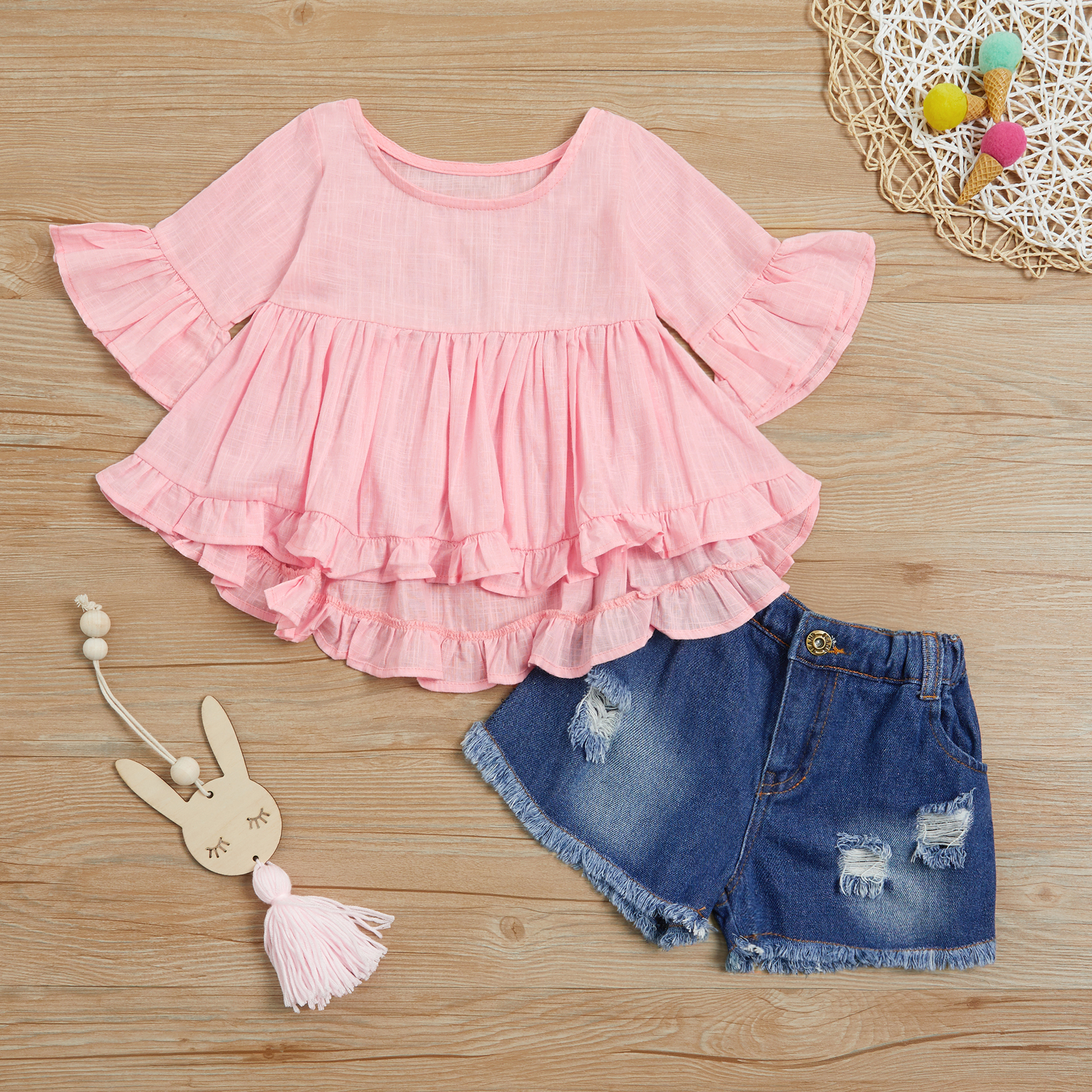 Купить со скидкой 2-piece Ruffled Top and Denim Shorts for Toddler Girl / Girl