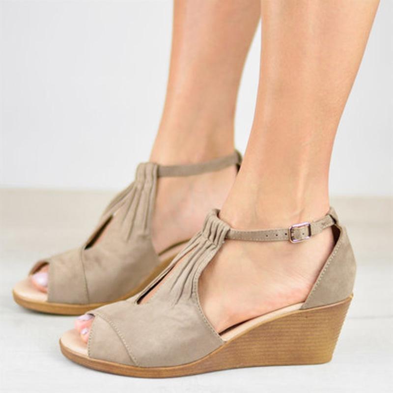 Lässige Schnalle Keil Sandalen