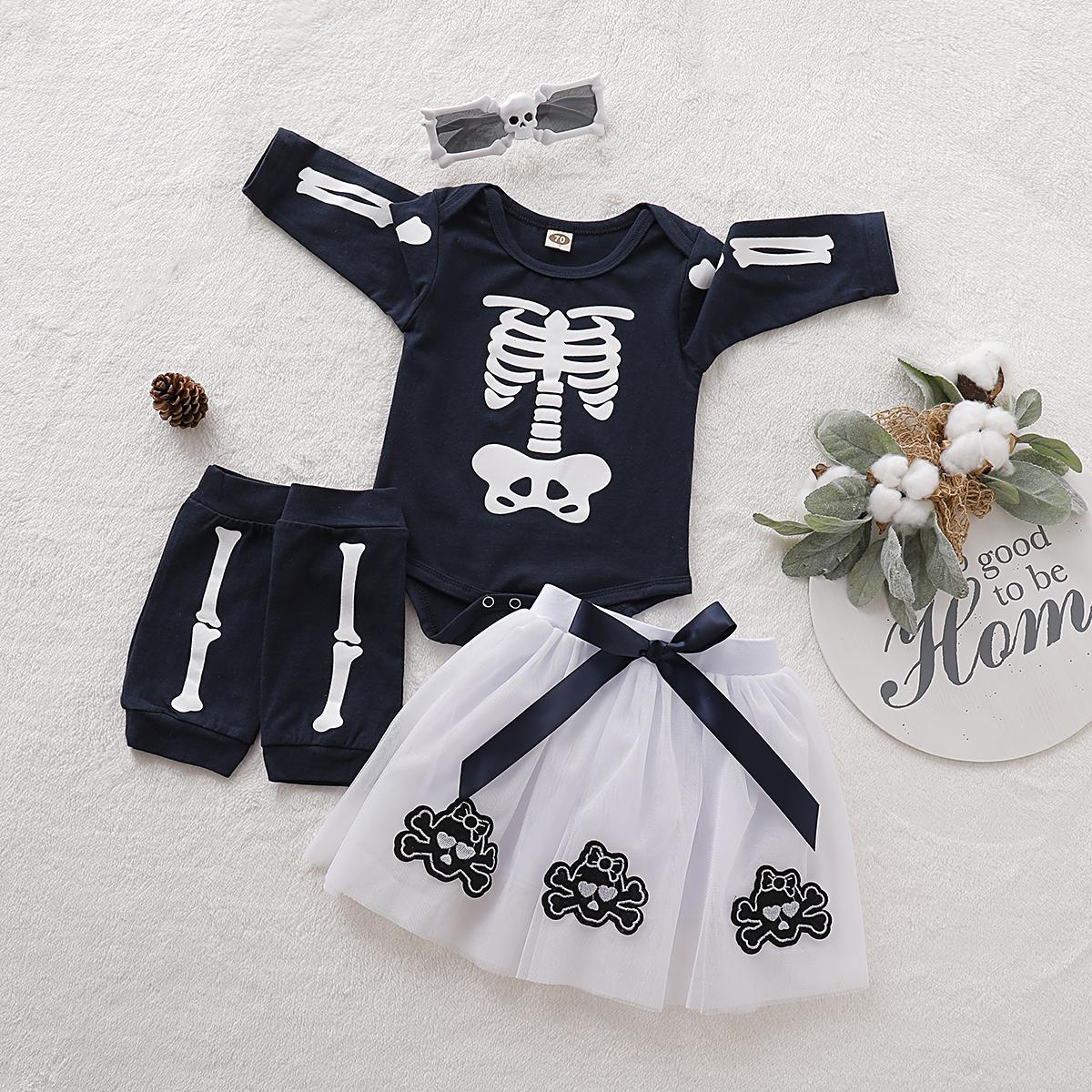 4-teiliges Baby-Mädchen Halloween-Stil Skelett-Print-Langarm-Top, Sonnenbrillen , Stulpen und Rock Set