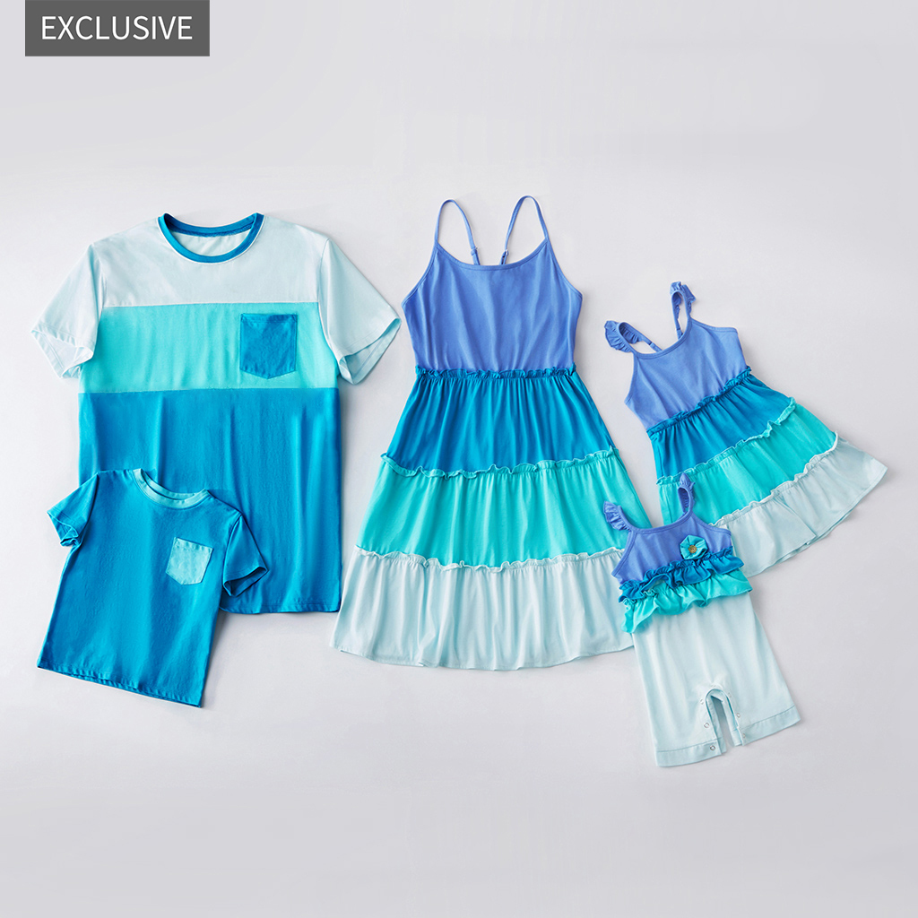 Купить со скидкой Mosaic Family Matching - Sibling Colorblock Tank Dress- Tee Rompers for Mom-Dad-Boy-Girl-Baby