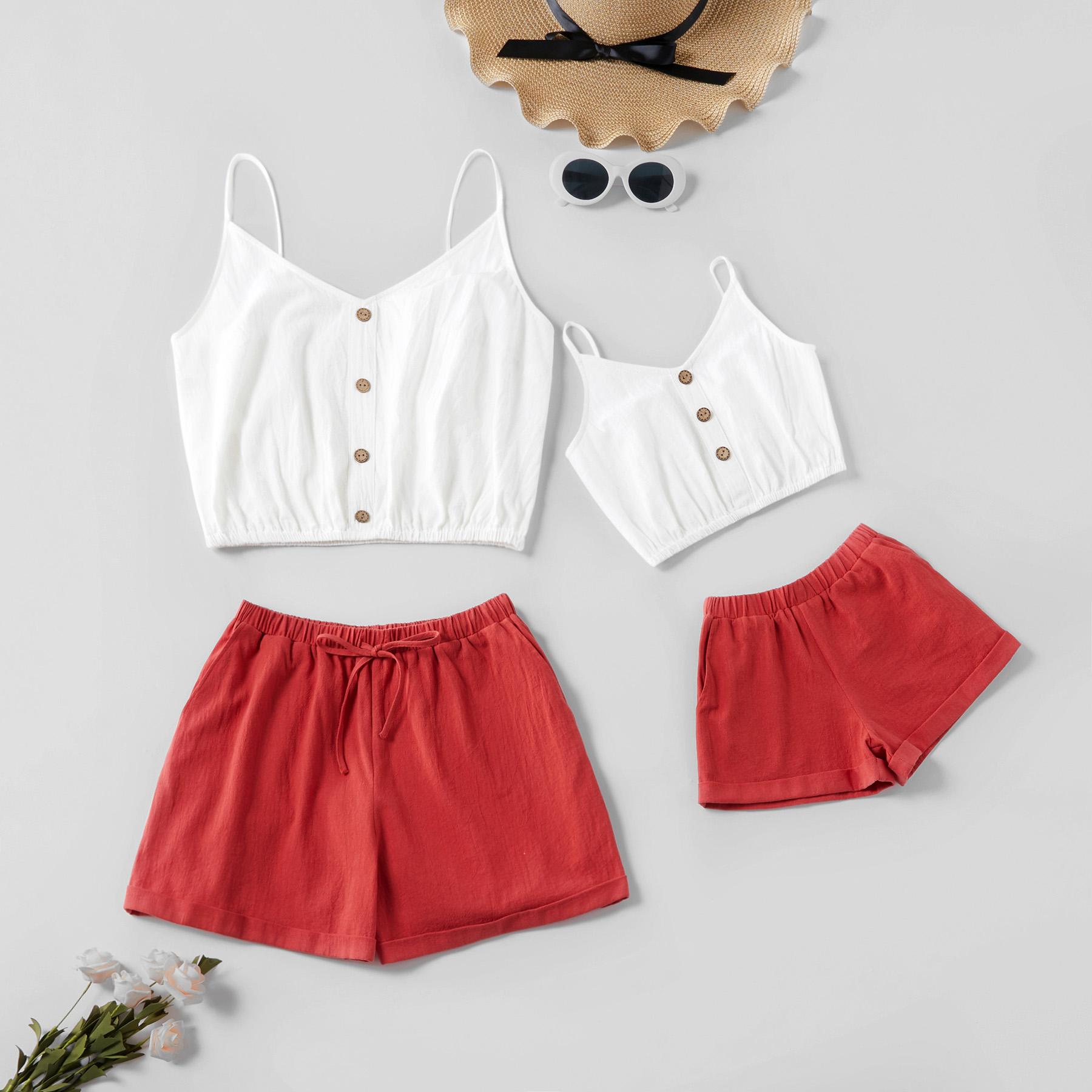 Sling Superior Sólida e Shorts Combinando Conjuntos