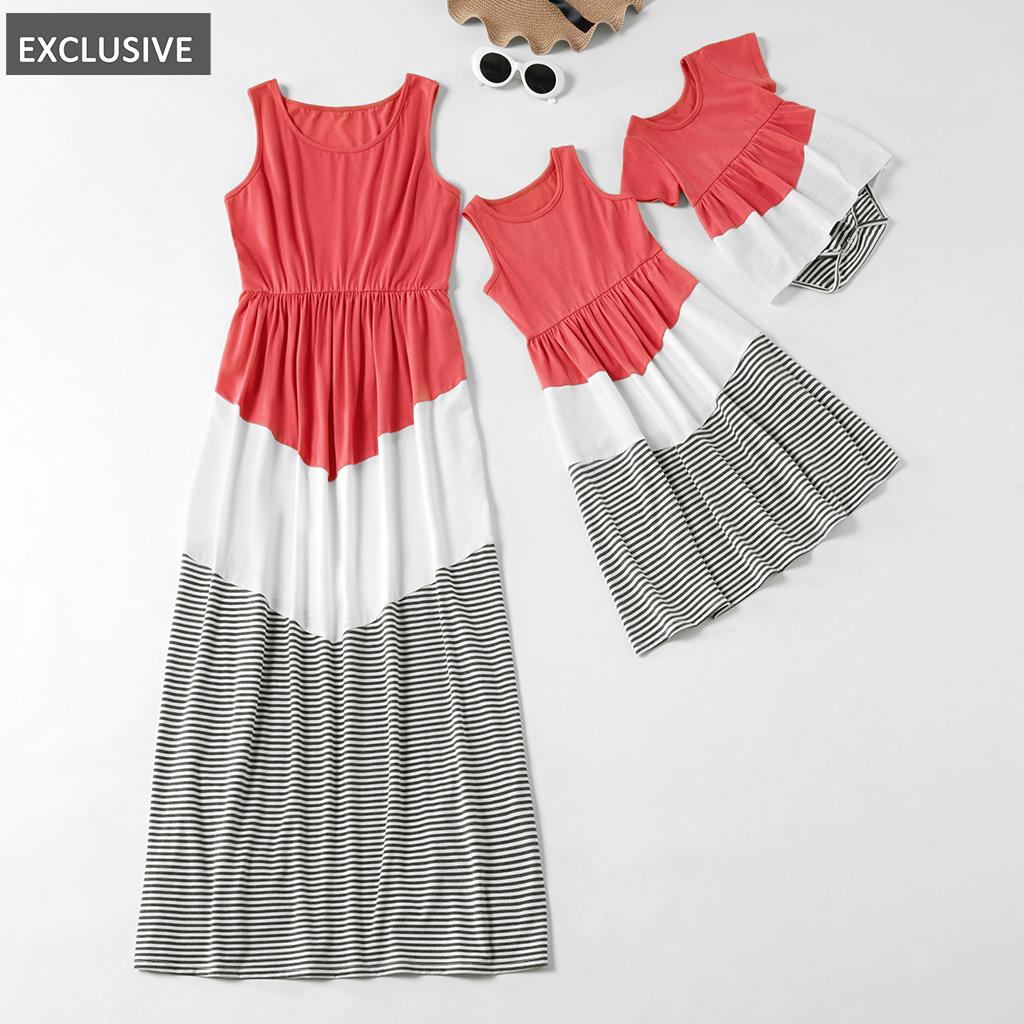 广州市佳鑫制衣有限公司 / Correspondência família mosaico - Mommy and Me tanque stripe vestidos irmã romper colorblock para a mãe - girl - bebê