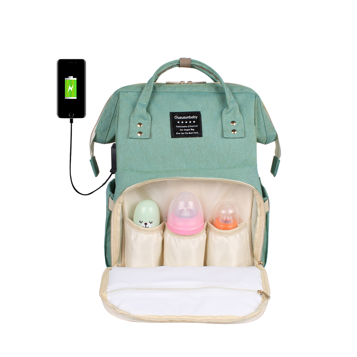 Купить со скидкой Solid USB Heating Large Capacity Diaper Bag Backpack
