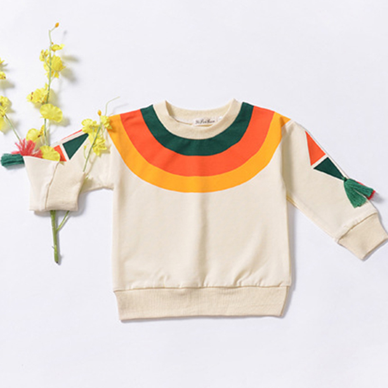 Купить со скидкой Baby / Toddler Colorblock Rainbow Print Collar Tasseled Sweater