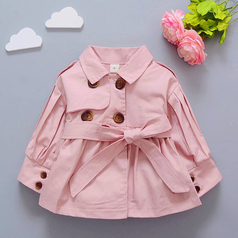 Купить со скидкой Baby / Toddler Solid Bow Belted Windbreaker