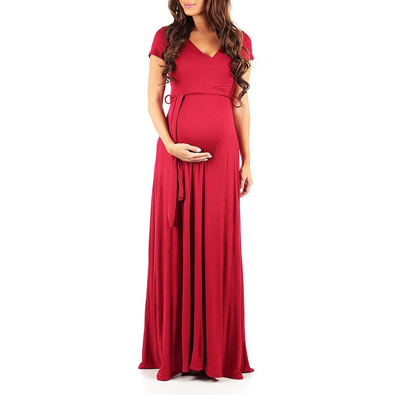 PatPat / Trendy Solid V Neck Short-sleeve Maternity Maxi Dress