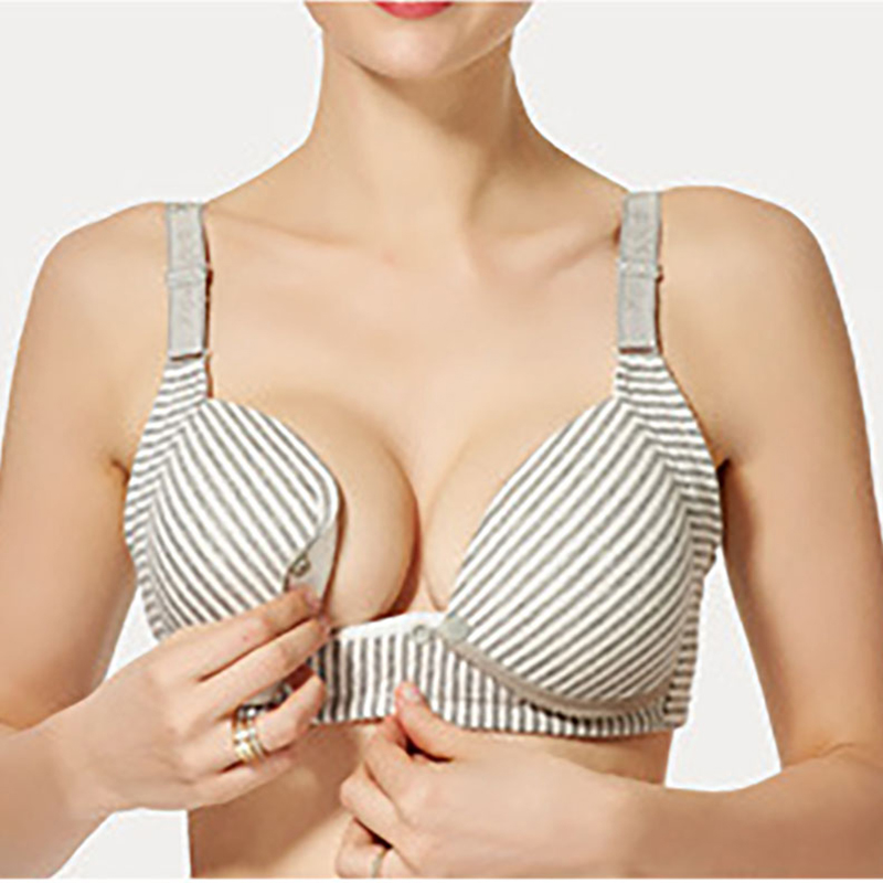 Pretty Striped Breastfeeding Bra