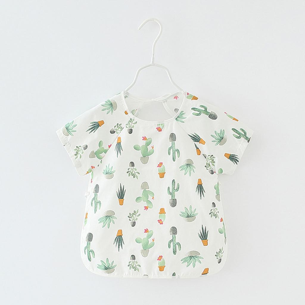 Waterproof Cactus Print Short-sleeve Baby Bib