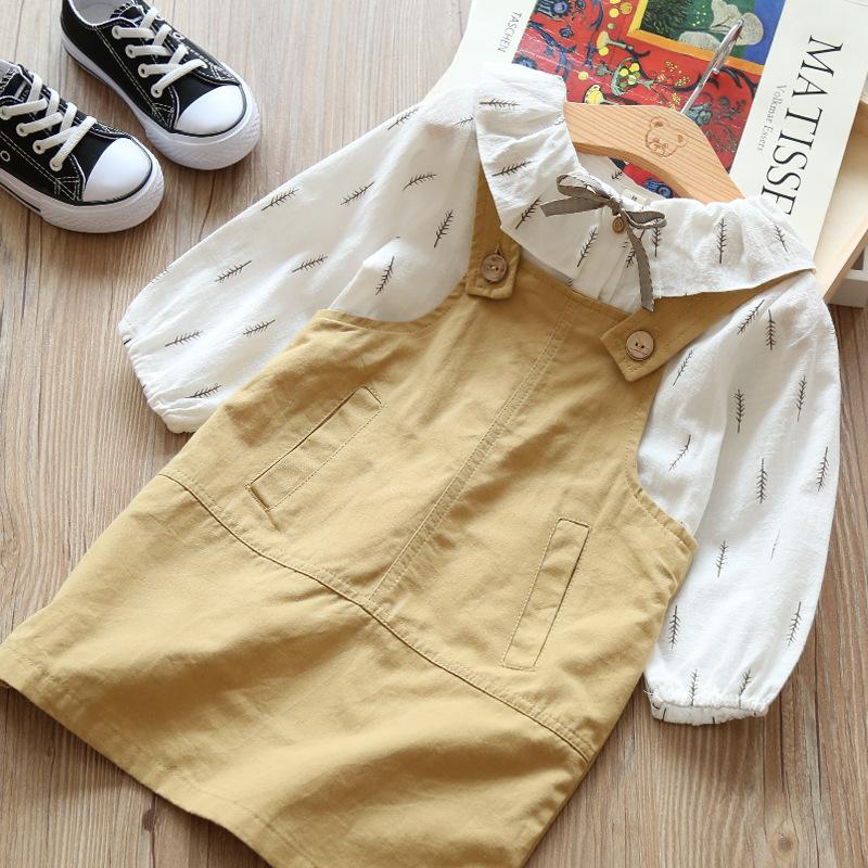 Folha de Impressão camiseta de manga comprida E Suspensórios Conjunto de Vestido