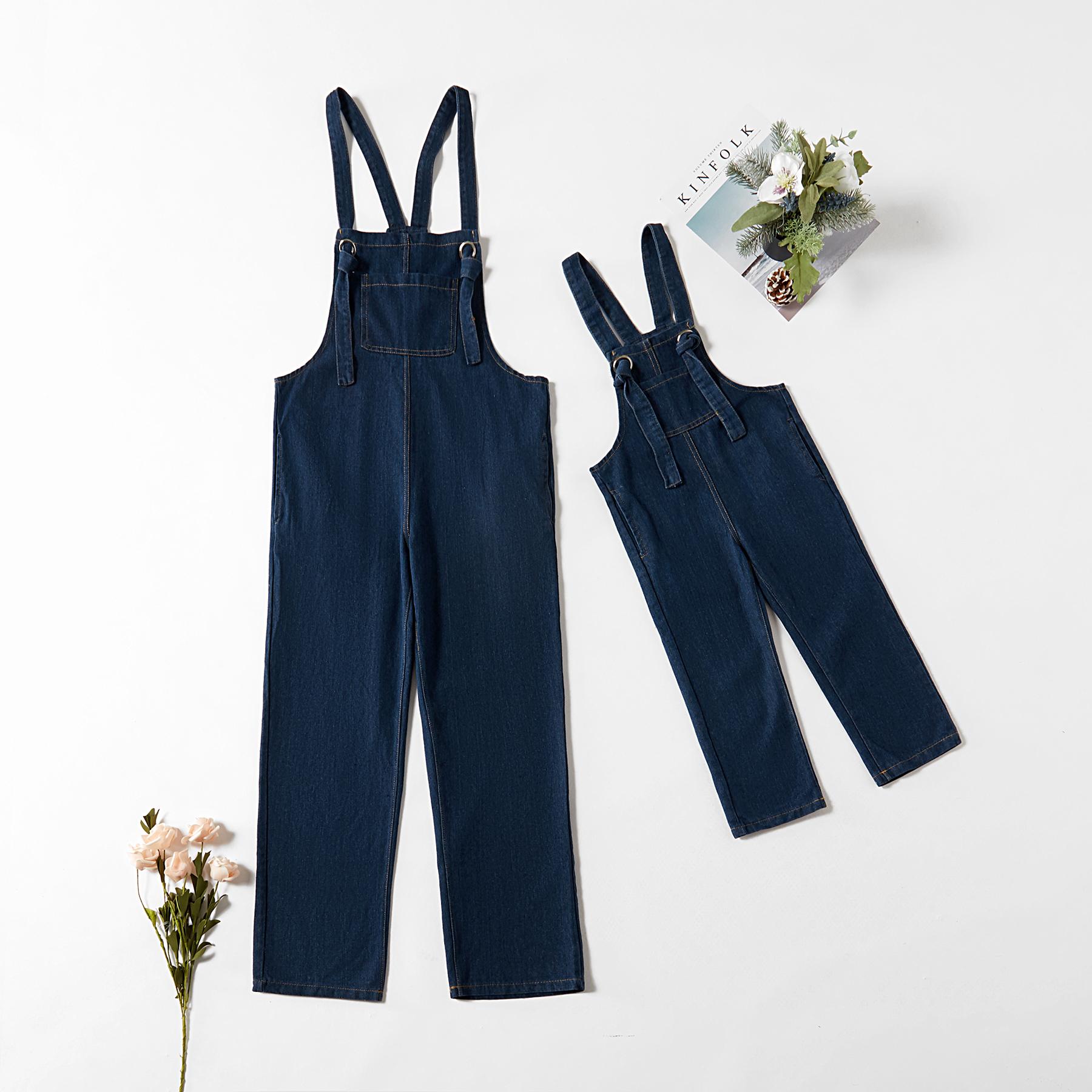 衣旺角服饰商行 / Macacão jeans sem mangas e com macacões bolso correspondentes