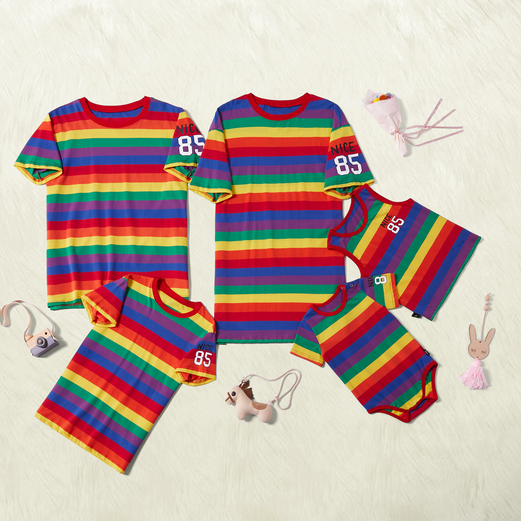 Rainbow Stripe Cozy Family Matching Sets