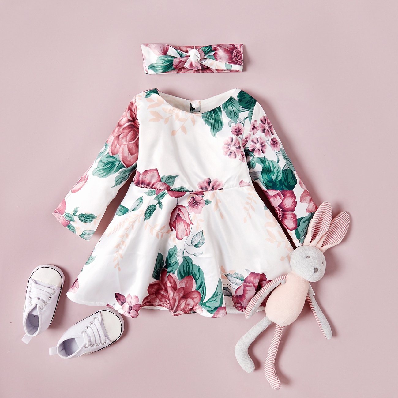 2-Piece Baby / Toddler Floral Allover Dress and Headband Set