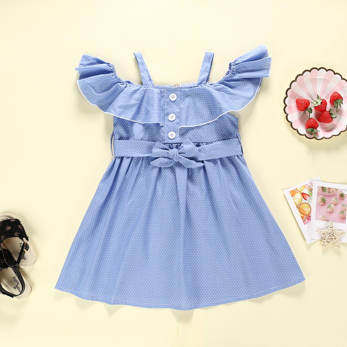 Bebê / Criança Linda Pontos Cintura Arco Ombro Frio Contorceu Vestido
