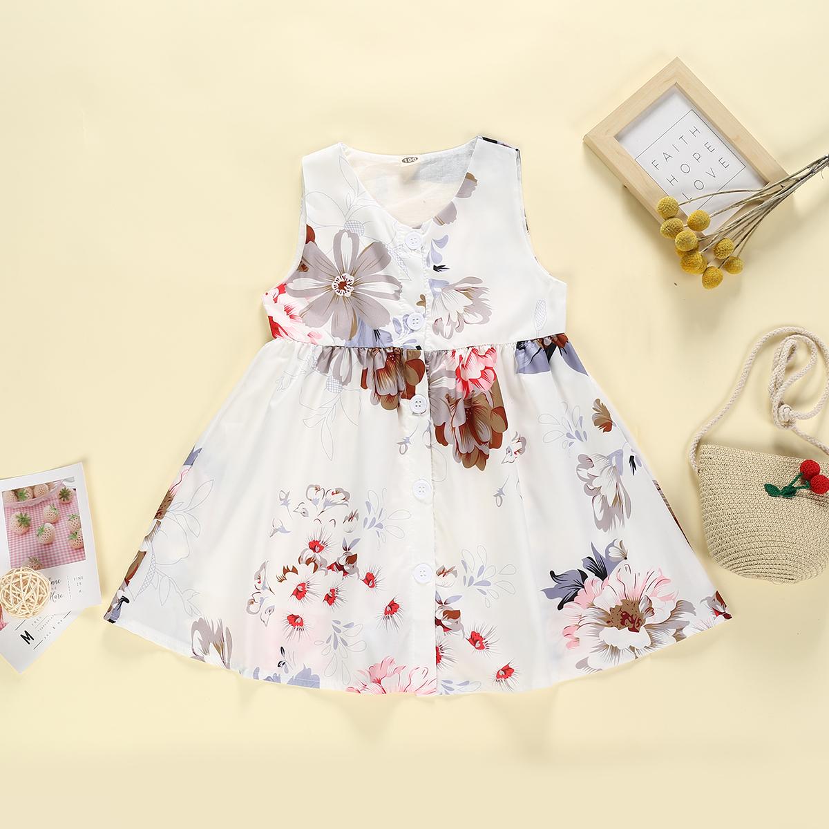 Bébé / Enfant Tendance De Peinture À L'Encre Floral Allover Robe Sans Manches