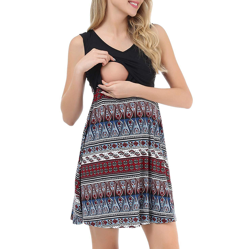 PatPat / Maternity Round collar Geometric Color block Knee length Parachute skirt Sleeveless Nursing Dress
