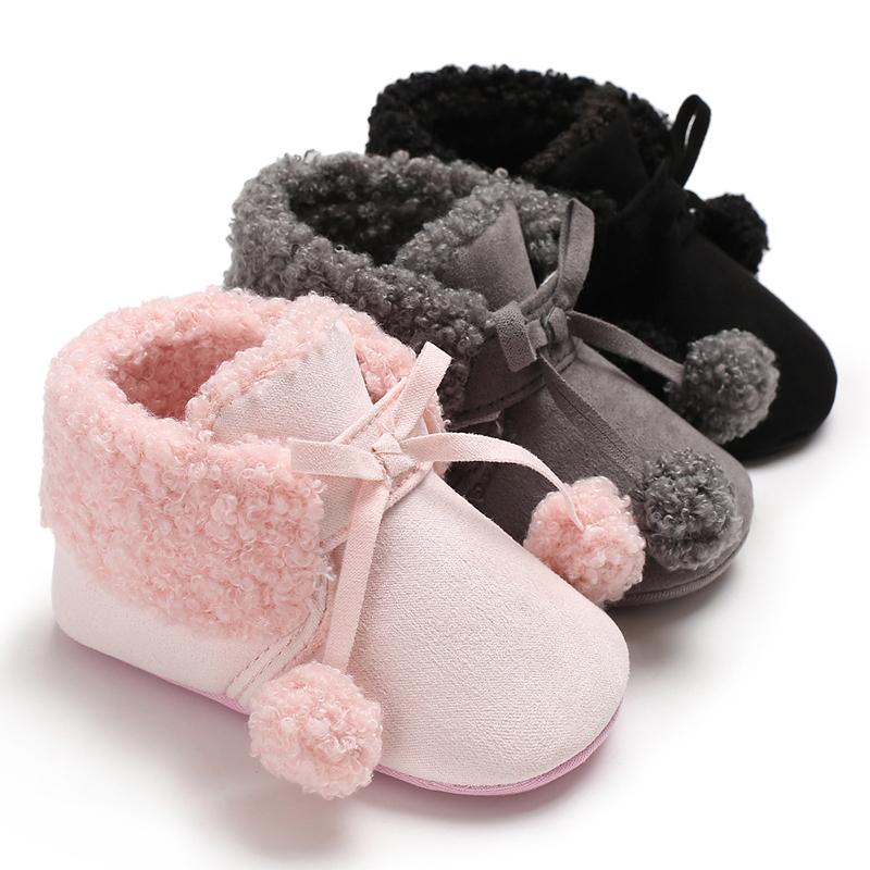 Baby-Mädchen Casual Solid Pelzigen Knöchel Prewalker Schnee Stiefel