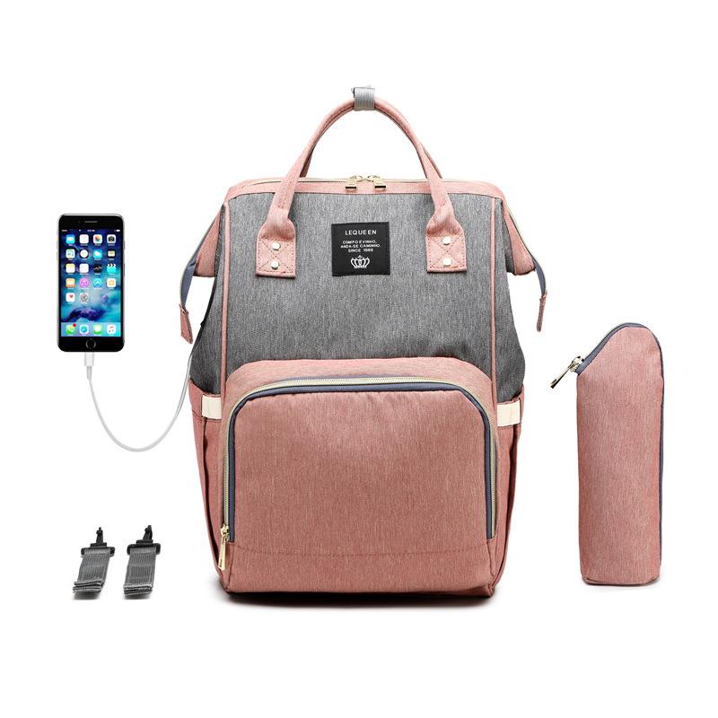 Color-Block-USB-Heizung mit Großer Kapazität Windel Tasche Rucksack