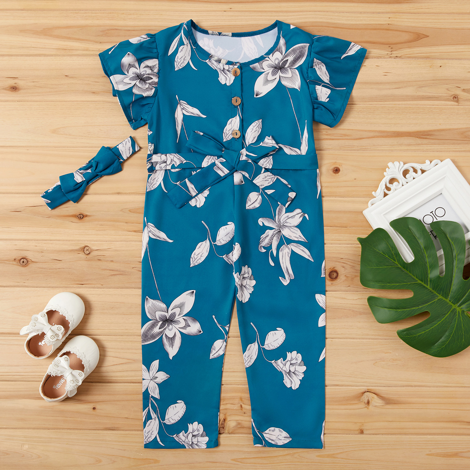 2-piece Baby / Toddler Girl Pretty Floral Print Bowknot Onesies Set