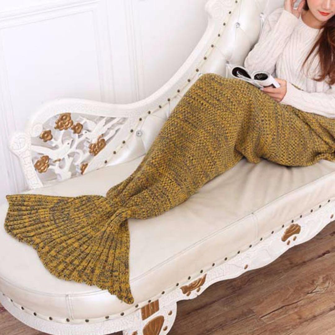 Купить со скидкой Women's Super Soft Knitted Mermaid Tail Blanket in Ginger