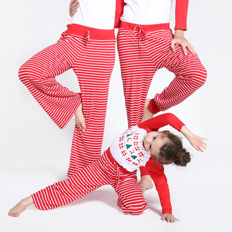 Купить со скидкой Comfy Striped Lounge Pants in Red for Family