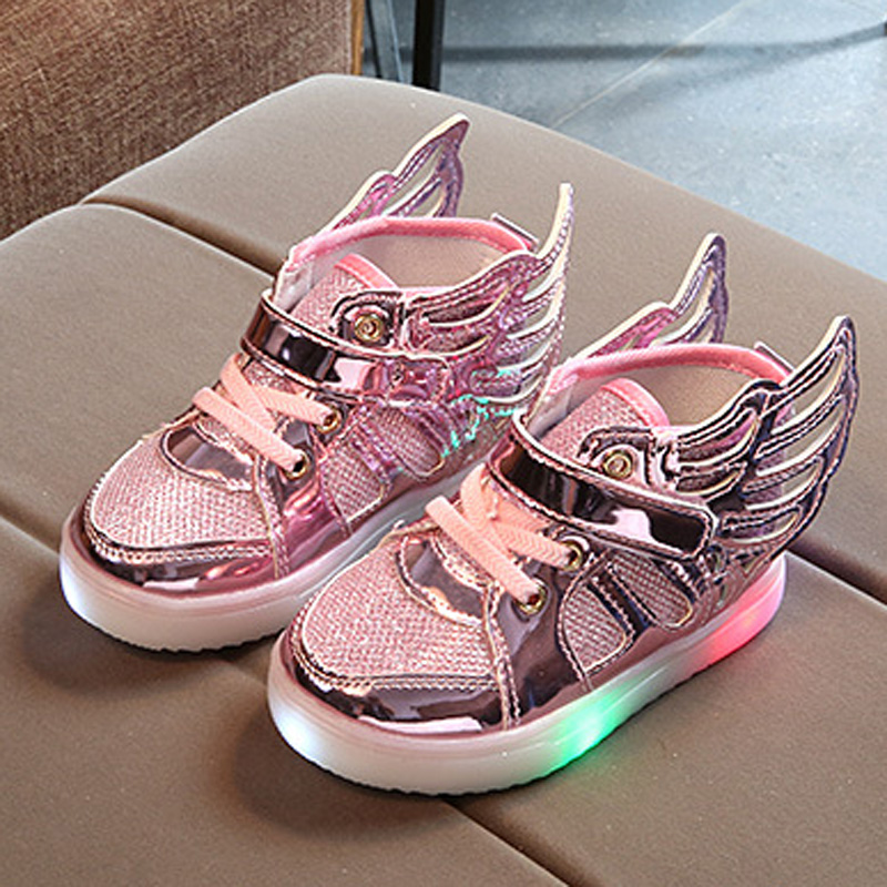 Купить со скидкой Shiny LED Wing Design Shoes for Toddler and Kid