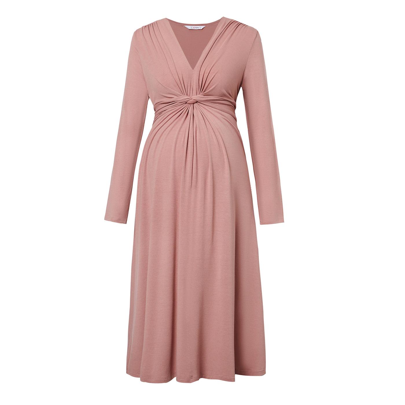 PatPat / Maternity Round collar Plain Dark Pink Normal Parachute skirt Long-sleeve Dress