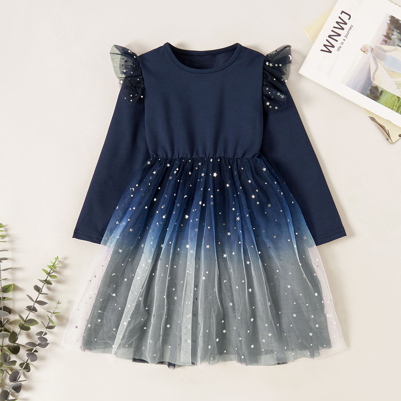 PatPat / Pretty Stars Paillette Gradient Ruffled Long-sleeve Mesh Party Dress