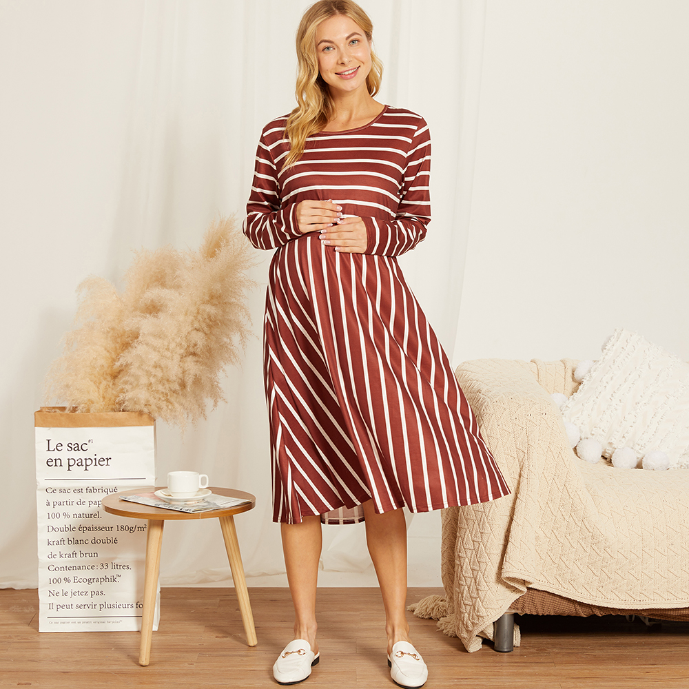 PatPat / Maternity Round collar Stripes Color block Red Knee length Parachute skirt Long-sleeve Nursing Dress
