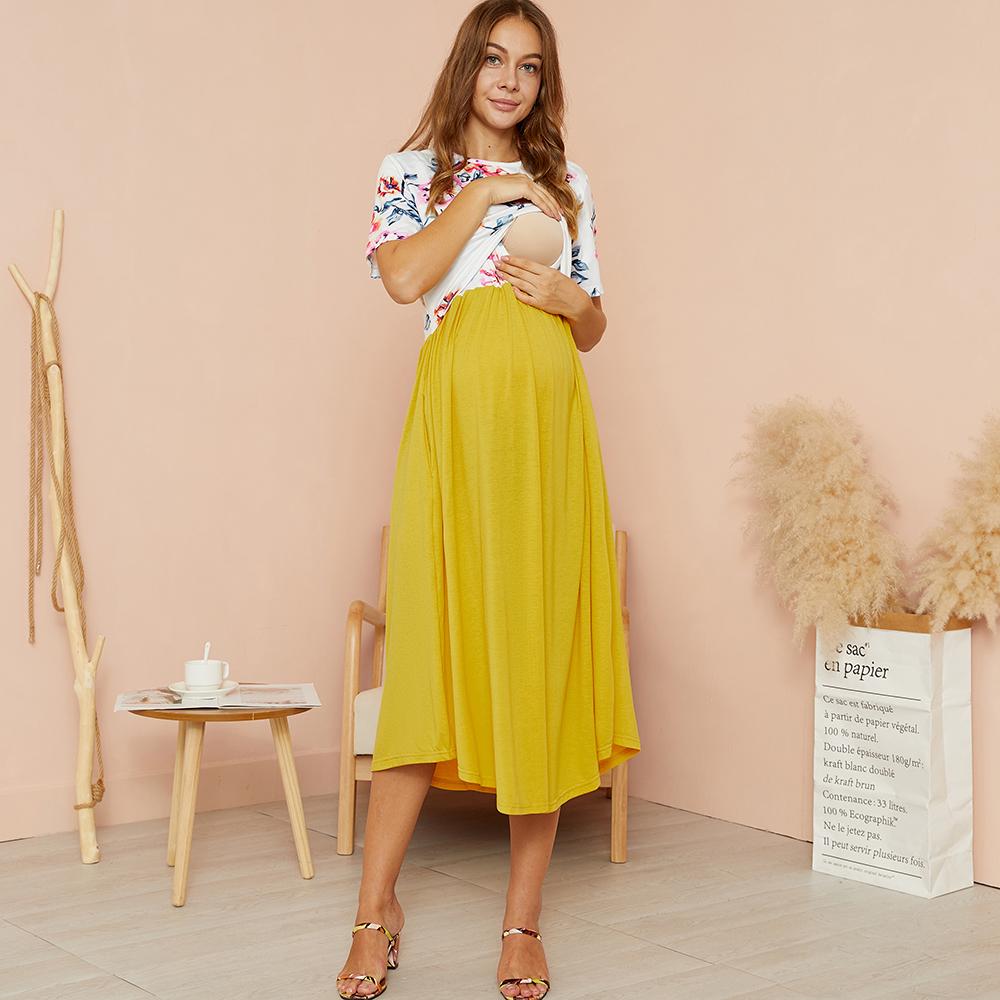 PatPat / Maternity Round collar Color Block Color block Yellow Midi H Short-sleeve Nursing Dress