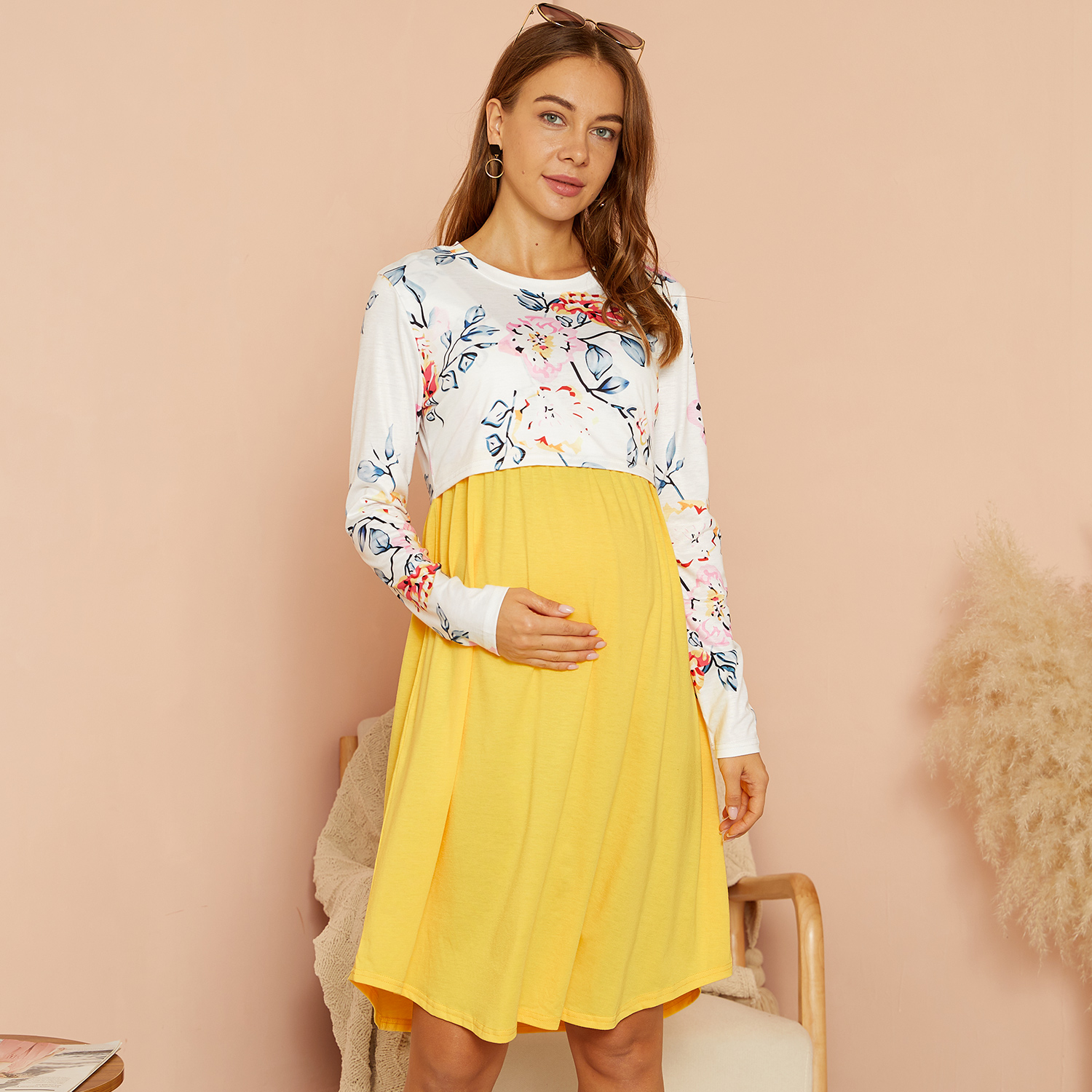 PatPat / Maternity Round collar Floral Color block Yellow Knee length Parachute skirt Long-sleeve Nursing Dress