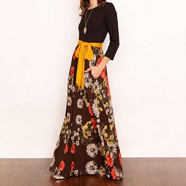 b06c0bbf6470 maniche lunghe accogliente stampa del fiore congiungere abito lungo con la  cravatta