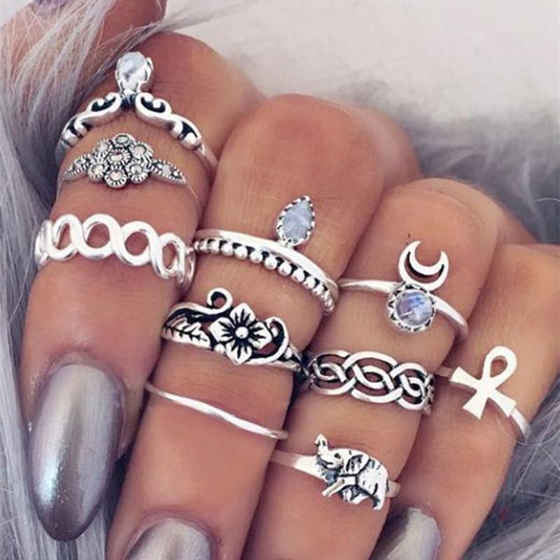 Image of 10 pezzi anello alla moda per le donne