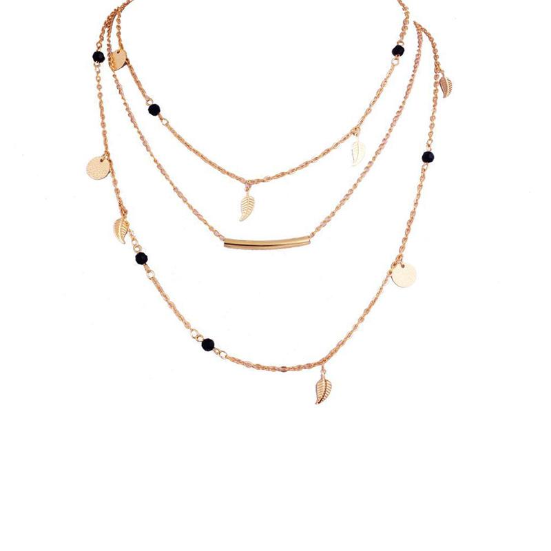 Image of bella collana decorazione foglia per le donne