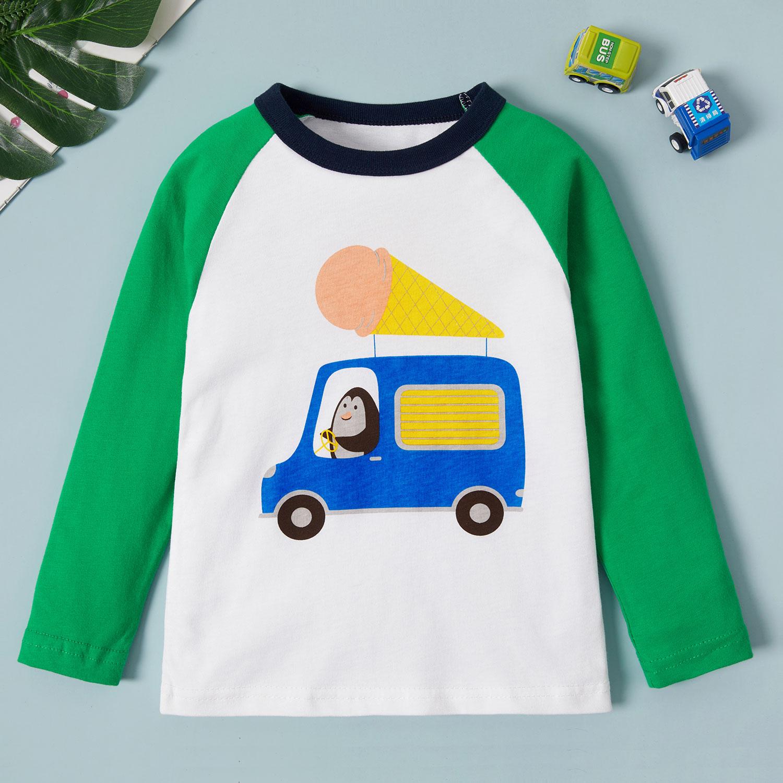 Baby Toddler Boy Cartoon Car Print Long Sleeve Tee